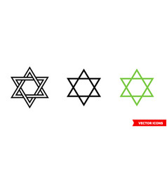 Hexagram icon 3 types isolated sign vector