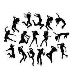 Hip hop jumping silhouettes vector