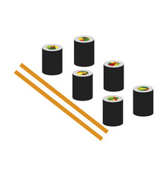 Icon in flat design for restaurant sushi and vector