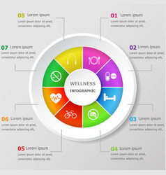 Infographic design template with wellness icons vector