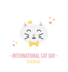 international cat day card vector image
