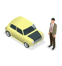 Isometric Classic mini model car and man vector