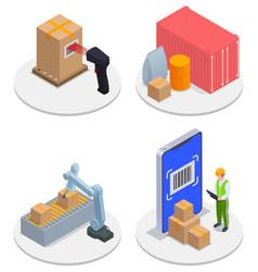 isometric modern warehouse icon set vector image