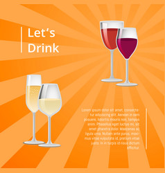 lets drink poster pair glasses two drinks vector image