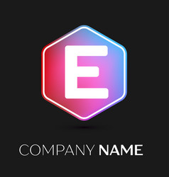 letter e logo symbol in colorful hexagonal vector image