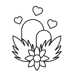 Line ecology mountains with hearts and flowers vector