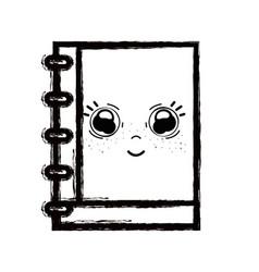 Line kawaii cute happy notebook tool vector