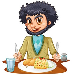 Man eating meal on table vector