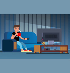 man watching television couch vector image