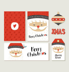 merry christmas santa claus card and label set vector image