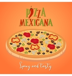 Mexican food concept Spicy and tasty pizza vector