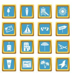 Miami icons azure vector