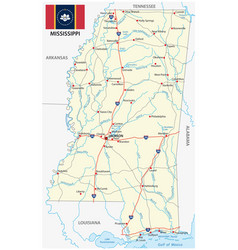 mississippi road map with new flag vector image