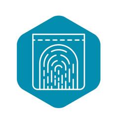 Monitor fingerprint icon outline style vector