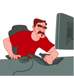 mustache man in red t-shirt smashed his fist on vector image
