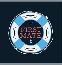 nautical style vintage print design for t-shirt vector image