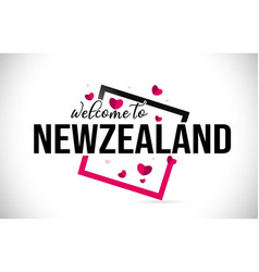 Newzealand welcome to word text with handwritten vector