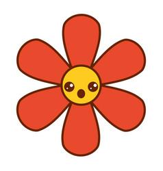 orange flower kawaii cartoon botanical icon vector image
