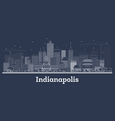 Outline indianapolis indiana city skyline with vector
