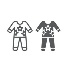 Pajamas line and glyph icon clothes and nightwear vector
