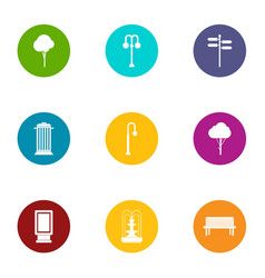 Parkland area icons set flat style vector