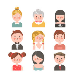 People of various ages portraits set on white vector