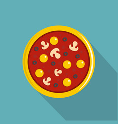 pizza with yolk olives mushrooms tomato icon vector image