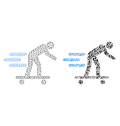 Polygonal wire frame mesh roller man and mosaic vector