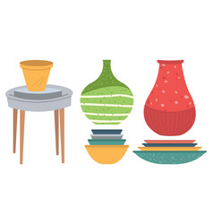 Pottery symbol handmade dishware plate vector