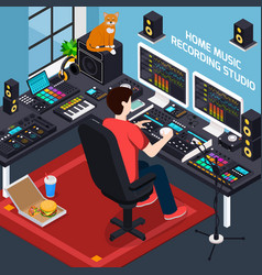 project studio isometric composition vector image
