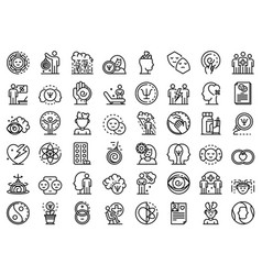 Psychologist icons set outline style vector