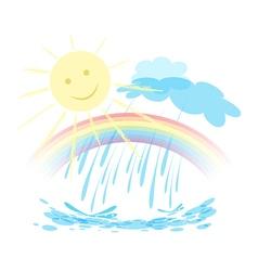 Rainbow sun rain landscape vector