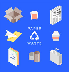 Recycle paper waste management set vector