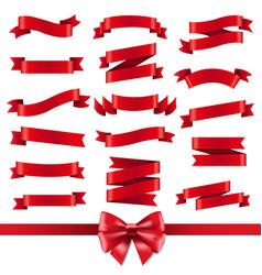 red ribbon and bow set vector image