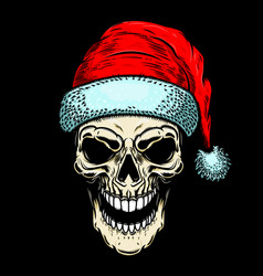 Santa claus skull on black background christmas vector