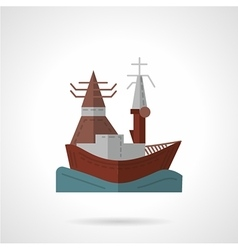 Sea port flat color icon vector