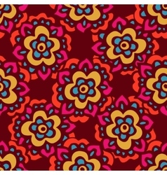 Seamless cute doodle floral pattern vector image