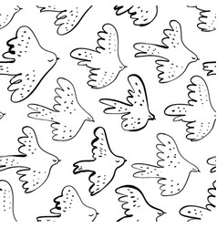 seamless doodle pattern with black birds vector image