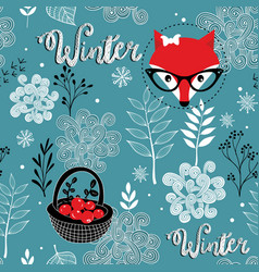 seamless winter pattern of frozen forest and vector image vector image
