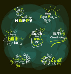 set badges earth day vector image