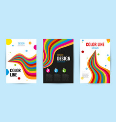 set leaflet with bright rainbow stripes on white vector image