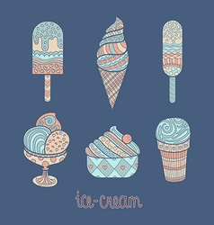 Set of artistic icecreams vector