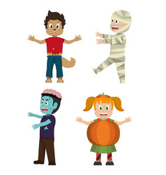 set of halloween kids vector image