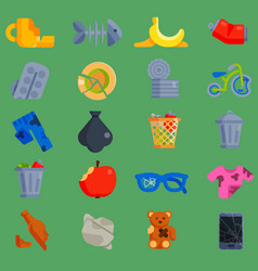 set of waste garbage icons for recycling vector image