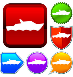 Set shiny icon series on buttons nautical vector