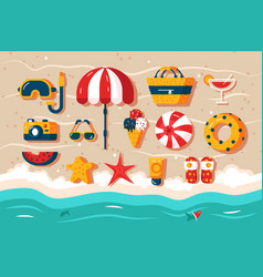 set various beach accessories vector image