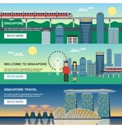 Singapore Culture 3 Flat Banners Set vector image