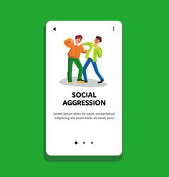 Social aggression fighting men conflict vector