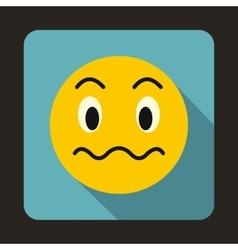 Suspicious emoticon icon flat style vector image