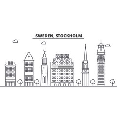 Sweden stockholm architecture line skyline vector